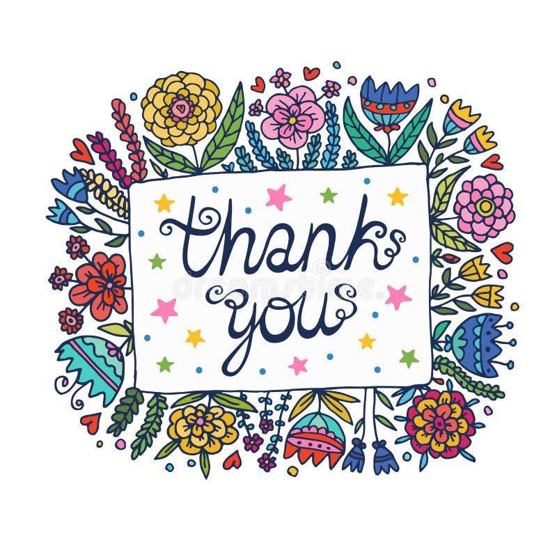 Thank You Floral Frame Illustration Stock Vector - Illustration of ...