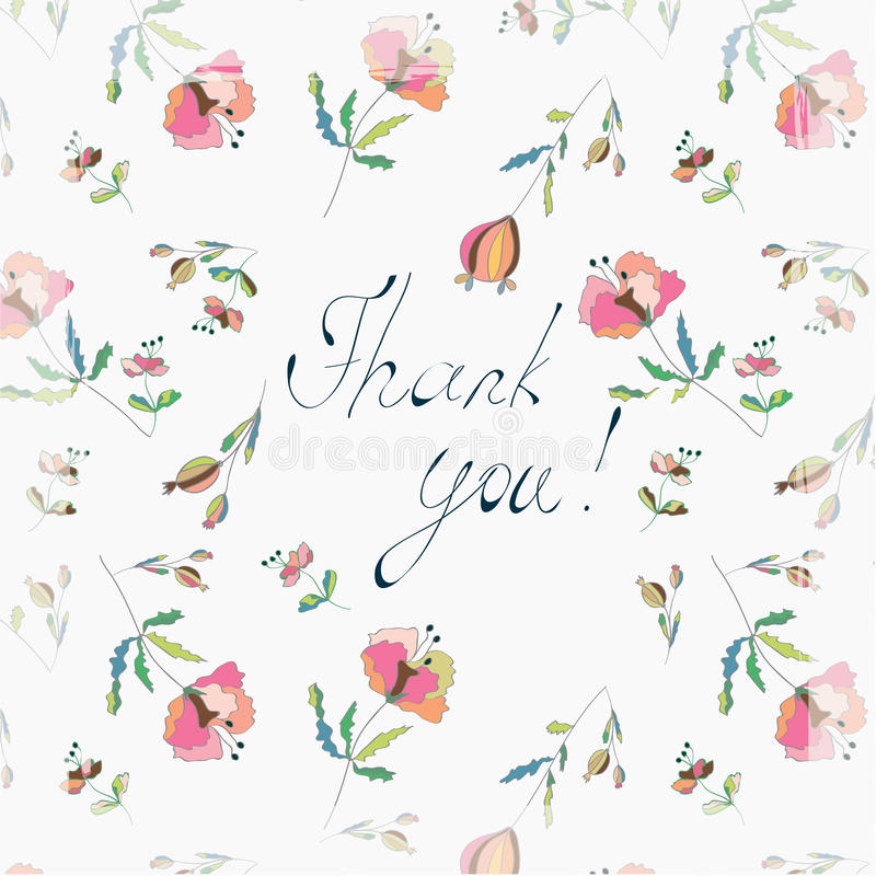 Thank you floral greeting card. With poppies vector illustration