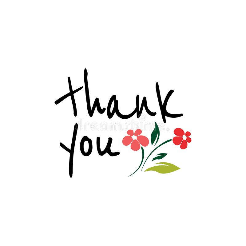 thank you with flowers card lettering. Beautiful greeting scratched calligraphy royalty free illustration