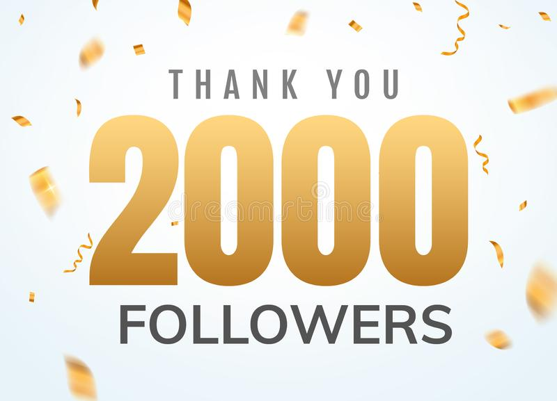 Thank you 2000 followers design template social network number anniversary. Social users golden number royalty free illustration