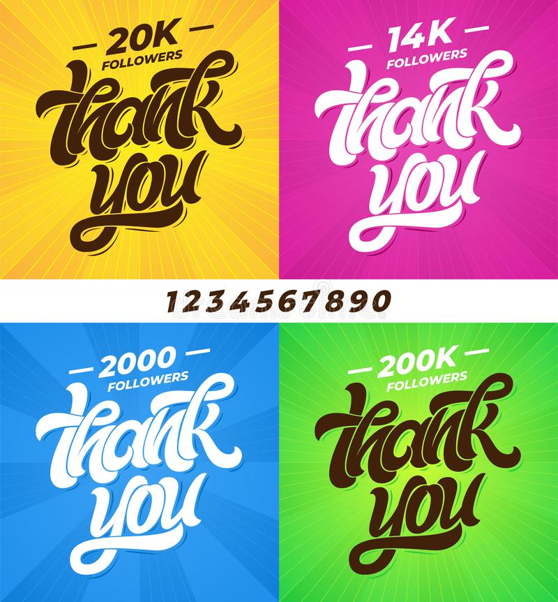 THANK YOU followers. Set of banners for social media with lettering and all digits. Modern brush calligraphy. Editable vector illustration