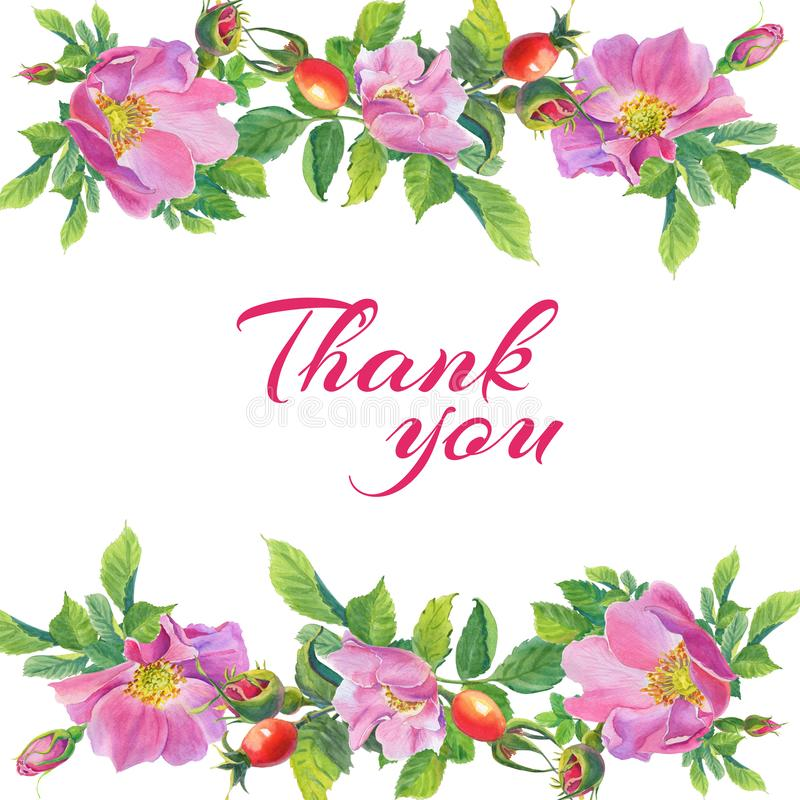 Thank you.Frame with Rose Hip.Greeting card of watercolor wild flowers vector illustration