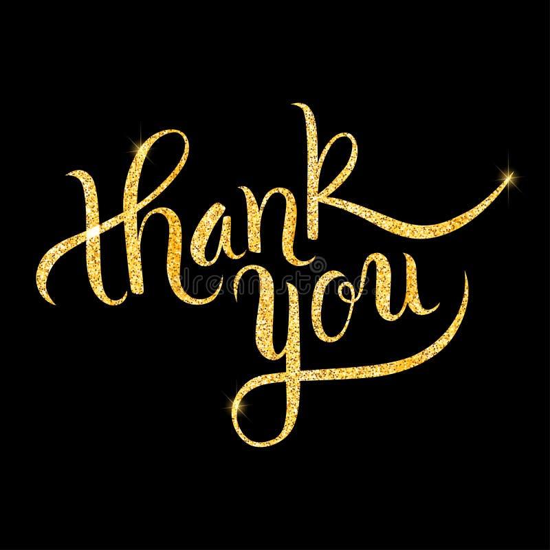 Thank you glitter golden hand lettering vector illustration