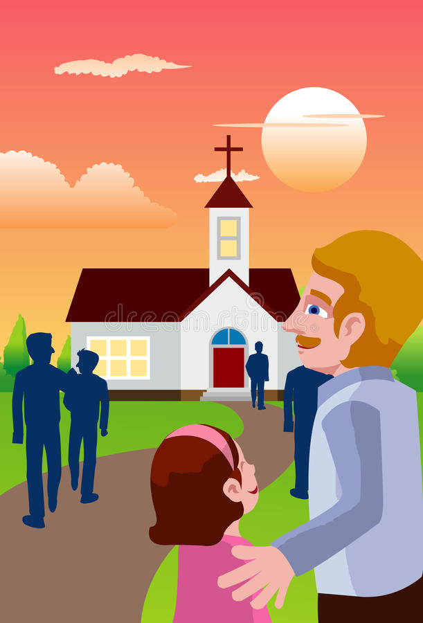 Thank You God. An image of people going in the evening to a chapel to attend mass stock illustration