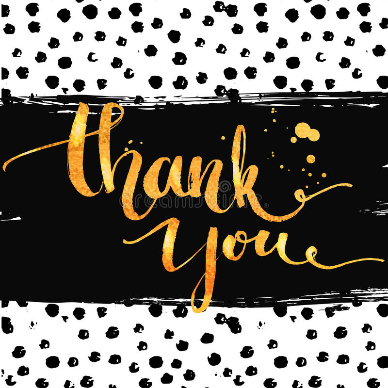 Thank You Gold Calligraphy With Ink Drops Stock Vector