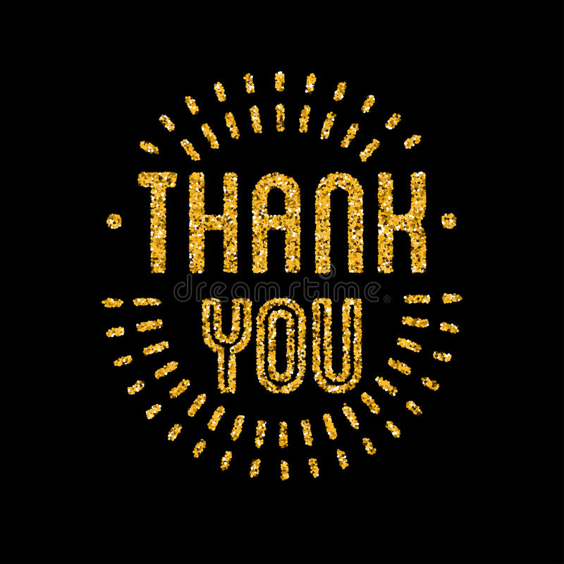 Thank you golden lettering design with glitter pieces. royalty free illustration