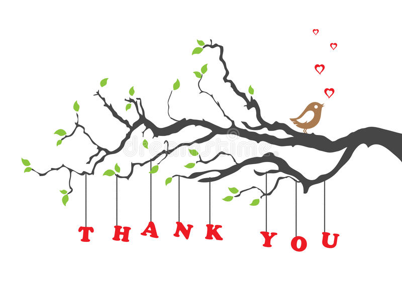 'Thank you' greeting card with bird stock illustration