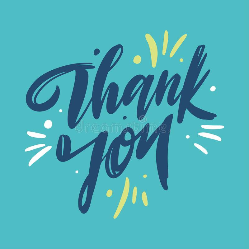 Thank You hand drawn vector lettering. Thank you card. Vector illustration. Modern brush calligraphy. Isolated on blue background vector illustration