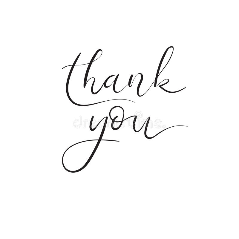 Thank You Hand Lettering Card. Modern Calligraphy. Vector Illustration. royalty free illustration