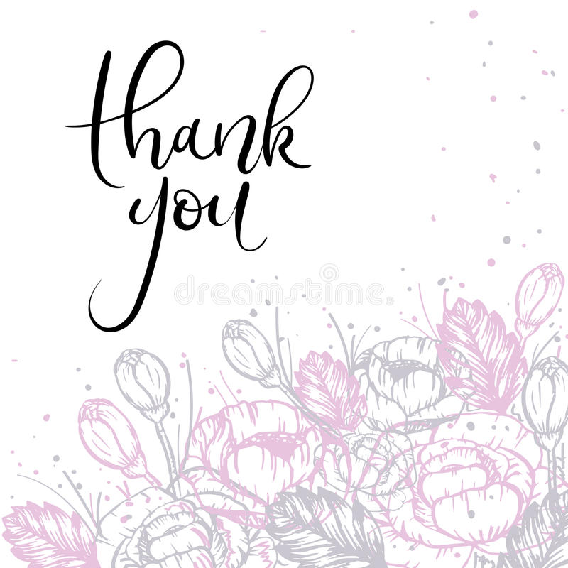 Thank You Hand Lettering Greeting Card. Modern Calligraphy. Vector Illustration. stock illustration