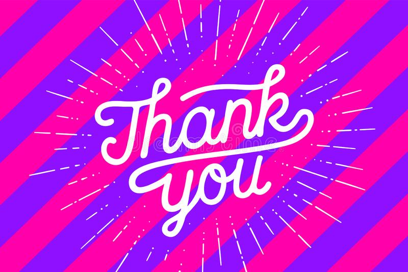 Thank You, Hand lettering Thank You with sunburst vector illustration