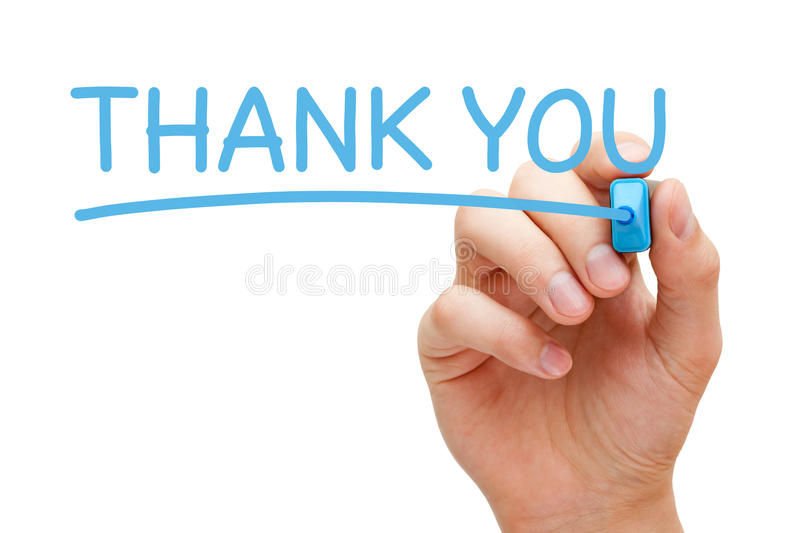 Thank You Handwritten With Blue Marker. Hand writing Thank You with blue marker on transparent glass board stock photography