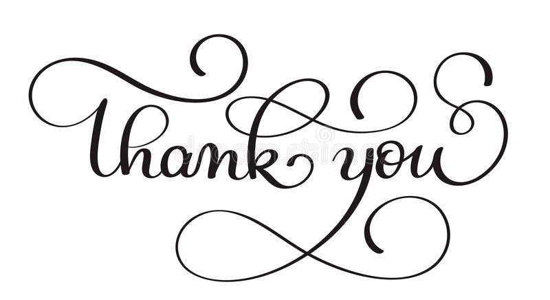 Thank you handwritten calligraphy vector text. dark brush pen lettering illustration isolated on white background stock illustration