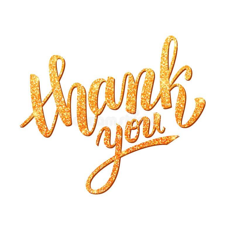 Thank you handwritten golden glitter illustration, brush pen lettering. Isolated on white background vector illustration