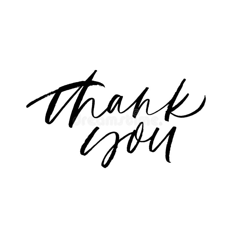 Thank you handwritten ink pen vector lettering. Gratitude expression, polite saying. stock illustration
