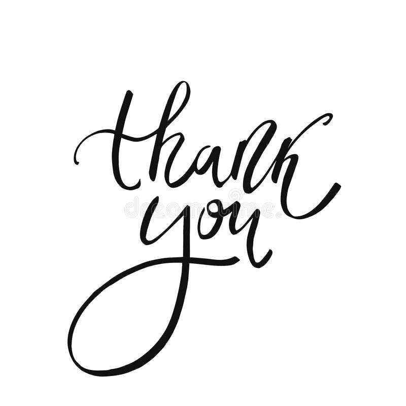 Thank You handwritten inscription. Hand drawn lettering. stock image
