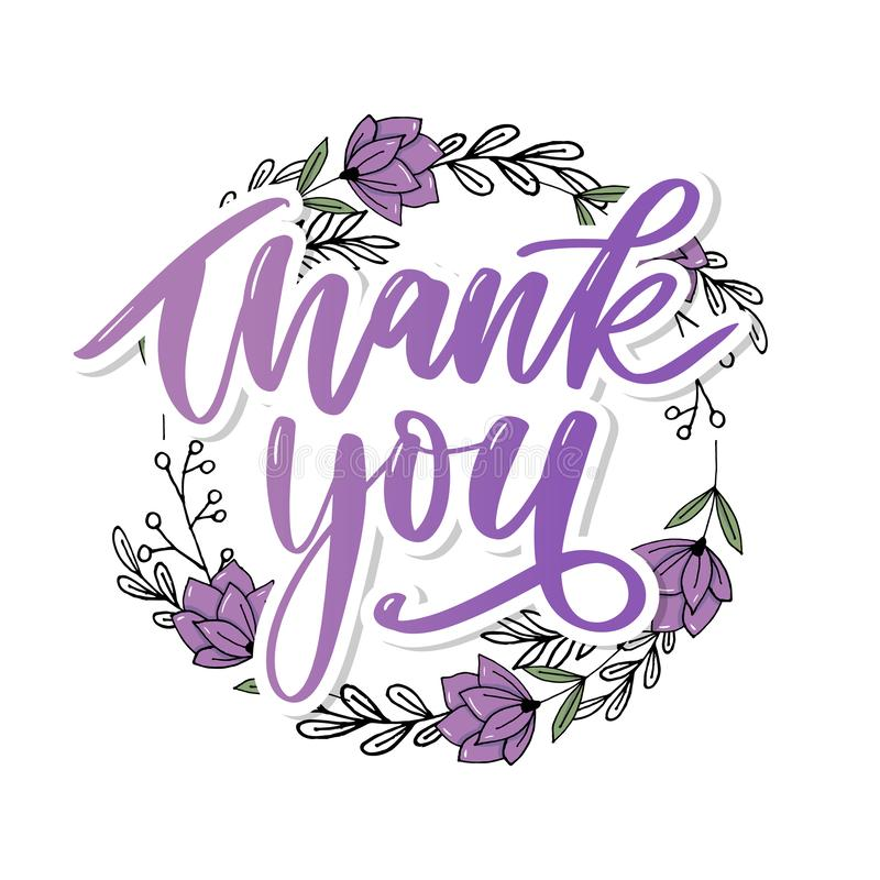Thank You handwritten inscription. Hand drawn lettering. Thank You calligraphy. Thank you card. Vector illustration. Slogan stock photography