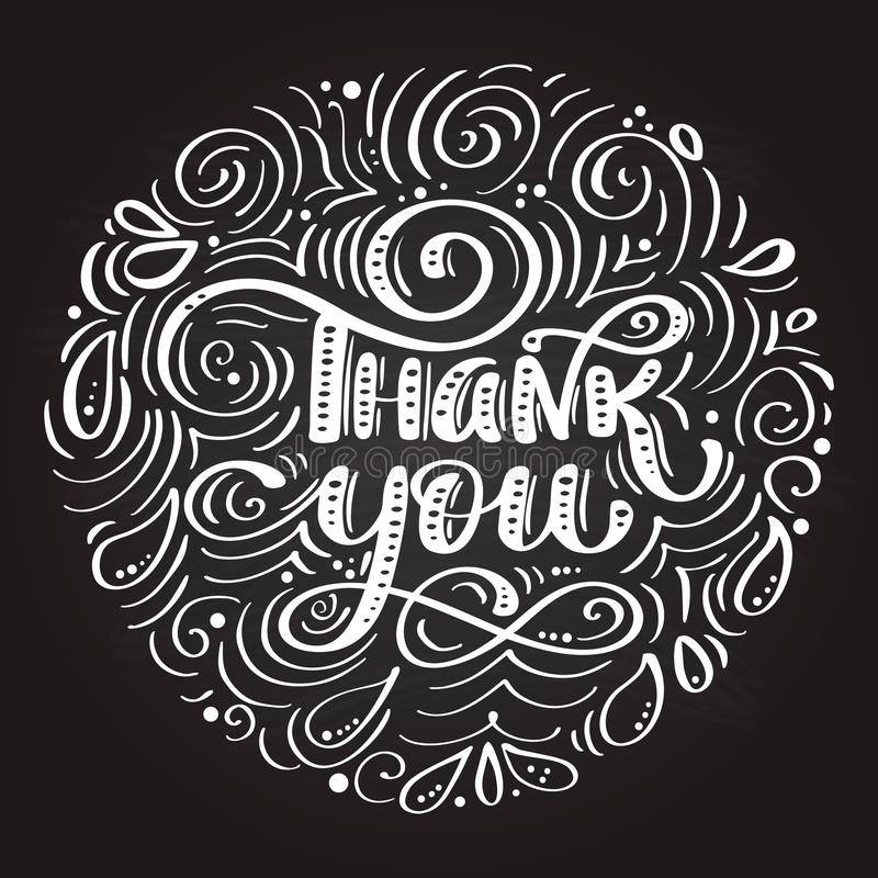 Thank You handwritten inscription. Hand drawn lettering. Thank You calligraphy on a chalkboard in the form of a circle vector illustration