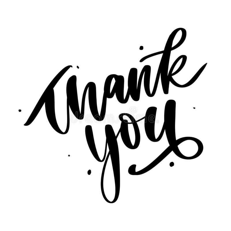 Thank You handwritten inscription. Hand drawn lettering. Thank You calligraphy. Thank you card. Vector illustration. Slogan vector illustration