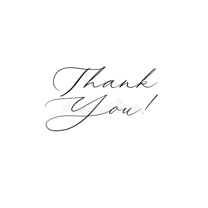 Thank You handwritten inscription. Hand drawn lettering. Thank You calligraphy. Thank you card. Vector illustration. stock illustration