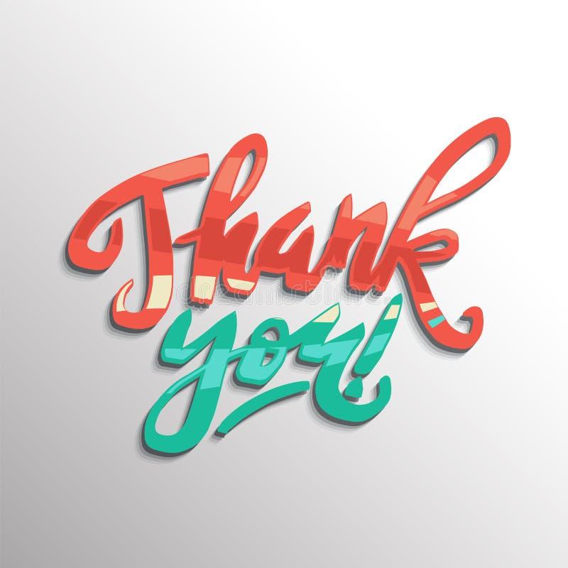 Thank you handwritten vector illustration, brush pen lettering c vector illustration