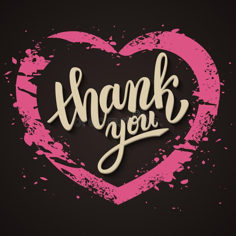 Thank you handwritten vector illustration, brush pen lettering. Pink heart royalty free illustration