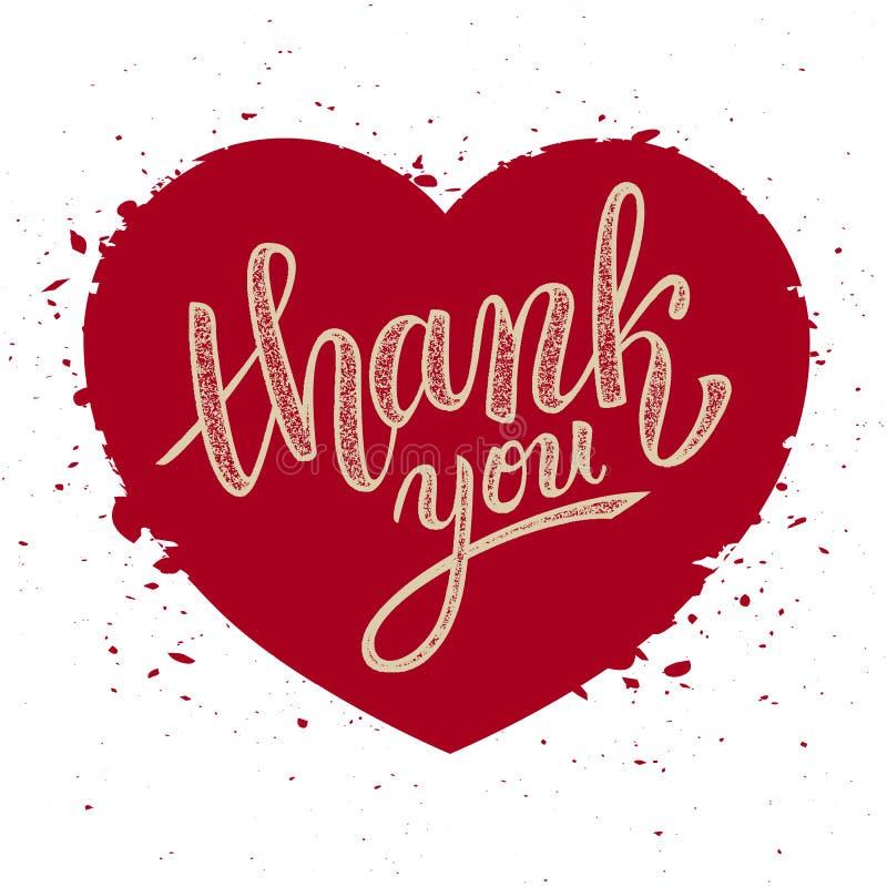 Thank you handwritten vector illustration, brush pen lettering. On red heart background stock illustration
