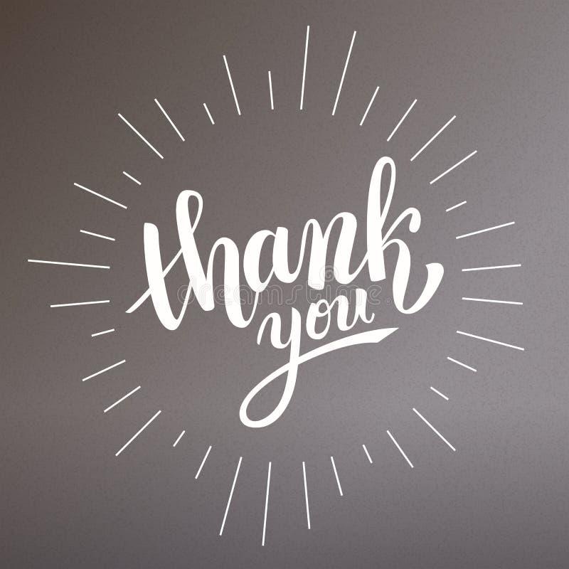 Thank you handwritten vector illustration, brush pen lettering stock illustration