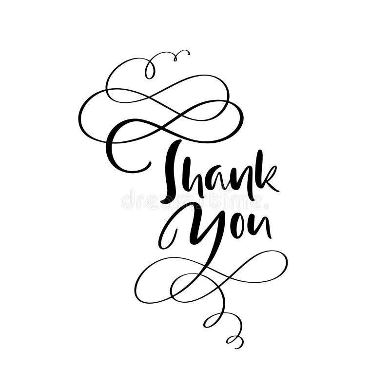 Thank you handwritten vector illustration, dark brush pen lettering isolated on white background.  royalty free illustration