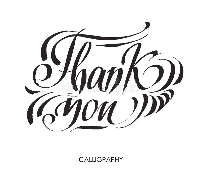 Thank you handwritten vector illustration, dark brush pen lettering on white background royalty free illustration