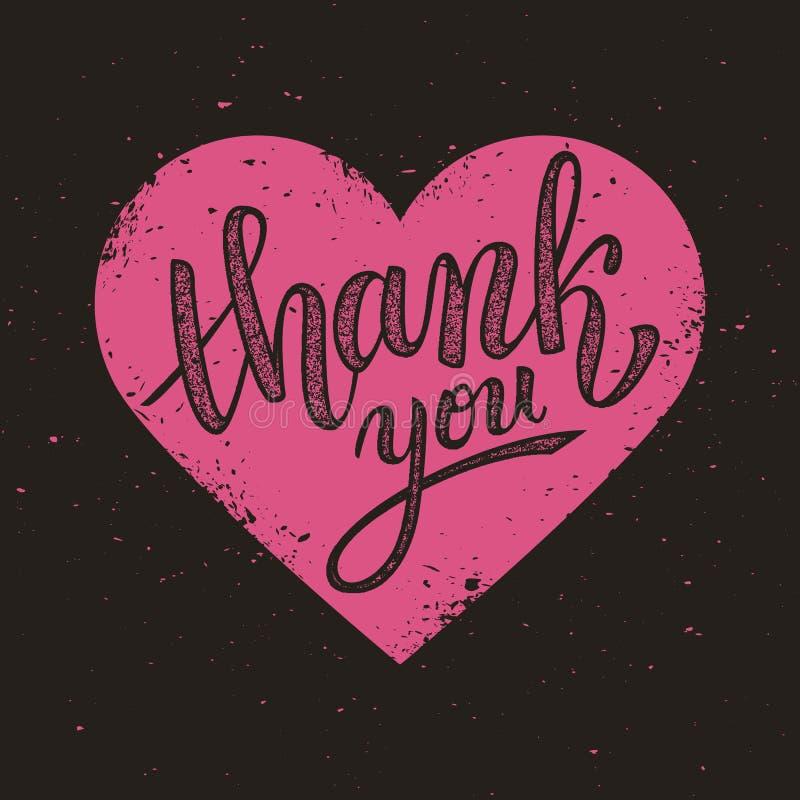Thank you handwritten vector illustration on pink heart background stock illustration