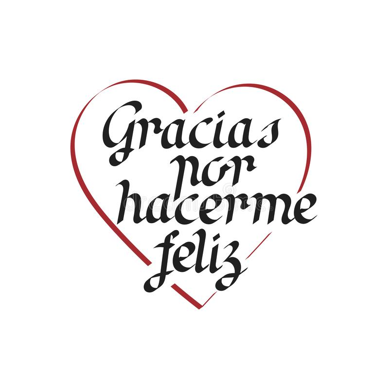 Thank you for happiness, hand lettering in Spanish. stock illustration