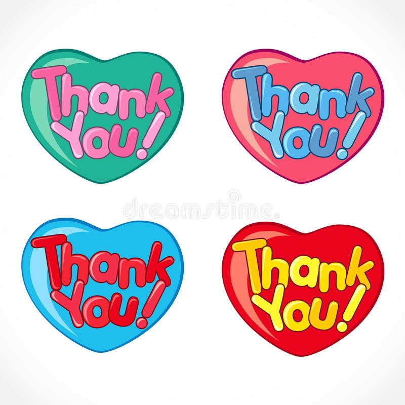 Thank you ! hearts collection vector illustration