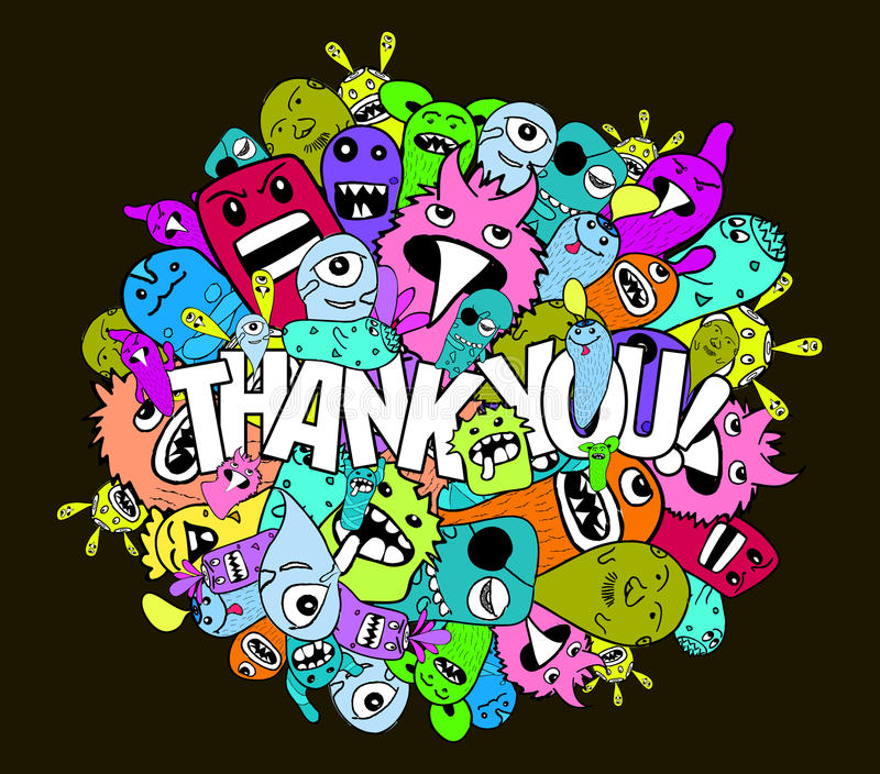 Thank you hipster colorful background vector illustration