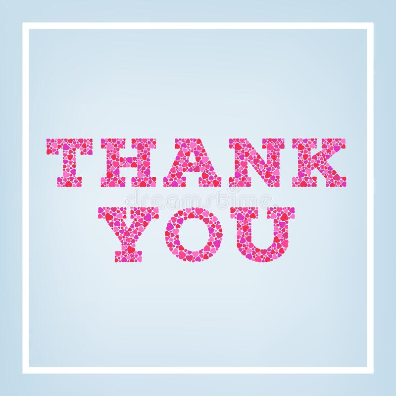 Thank you inscription made of small heart shapes on blue soft background. Greeting card, poster with typography royalty free illustration