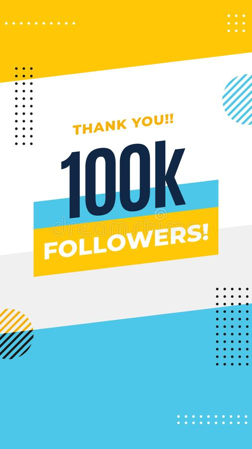 Thank you 100k followers story post background template design. flyer banner for celebrating many followers in online social media royalty free illustration