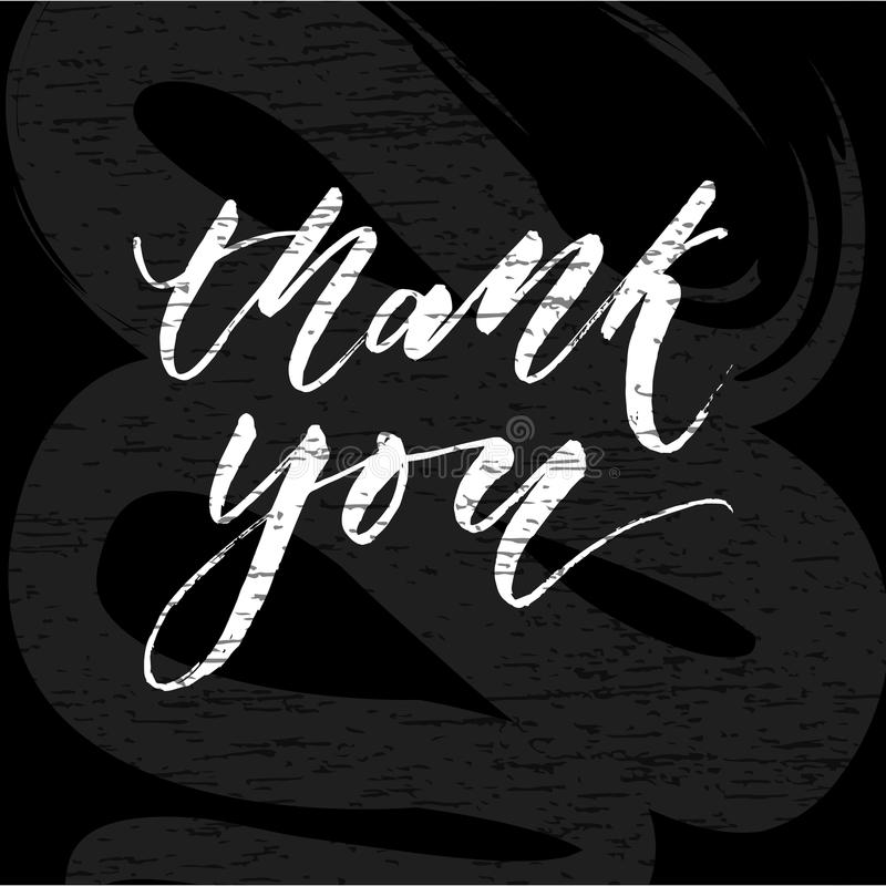 Thank you Lettering Calligraphy Vector Chalkboard stock illustration