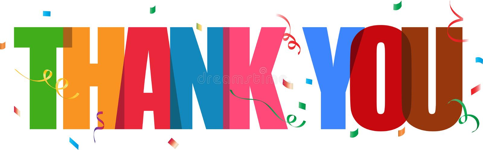 Thank you lettering confetti sign royalty free illustration