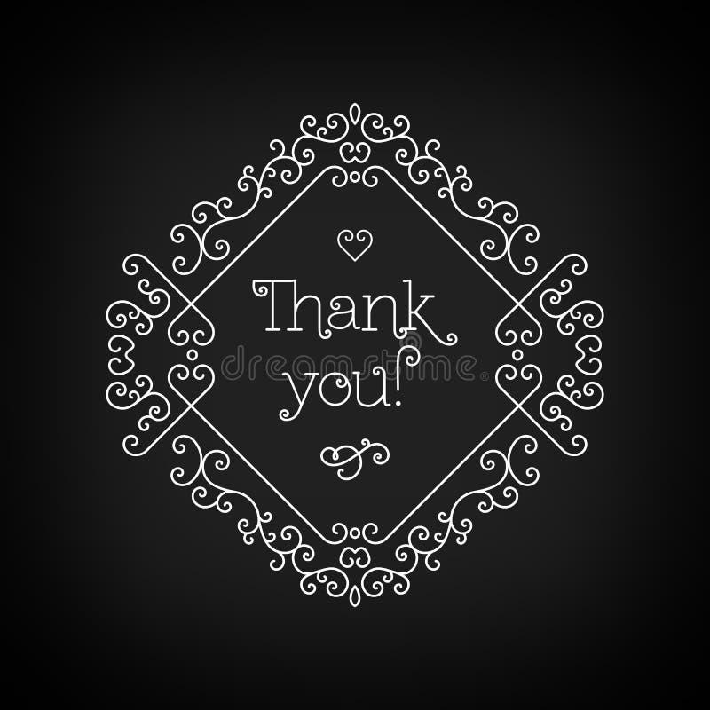 Thank you lettering and frame line art Black board Monogram stock illustration