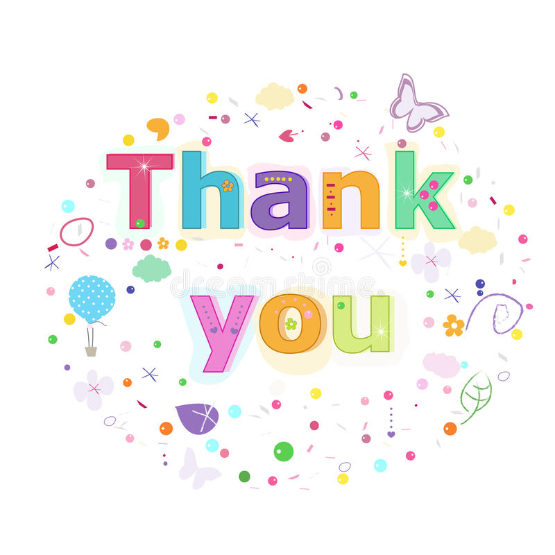 Thank you lettering text. Colorful poster design vector illustration royalty free illustration