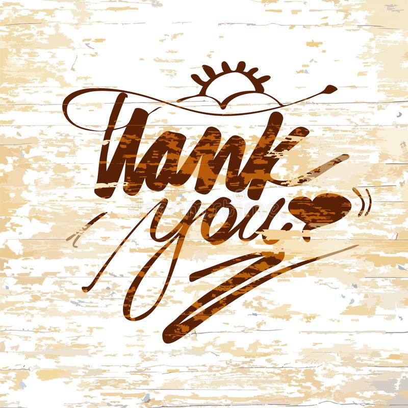 Thank you lettering on wooden background vector illustration