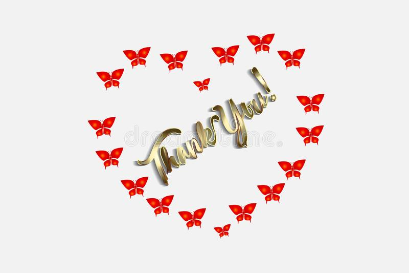 Thank you love heart butterflies card vector design. Image template stock illustration