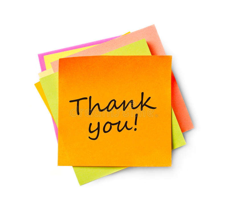 Thank you message on adhesive note. Adhesive note on white background stock images