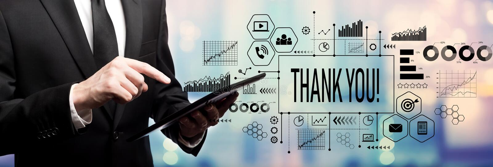 Thank you message with businessman stock photos