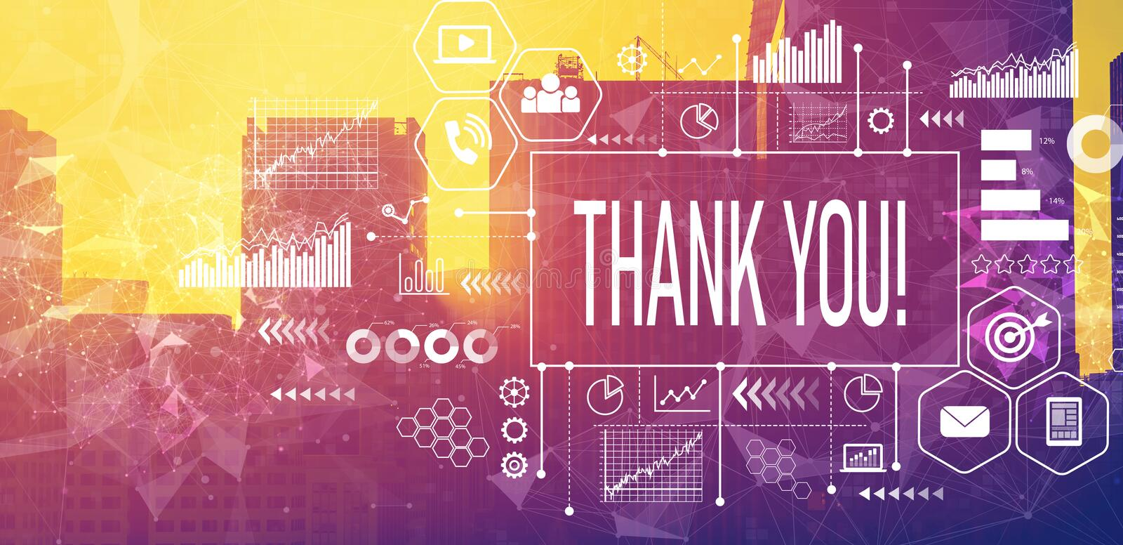 Thank you message with downtown San Francisco stock photo