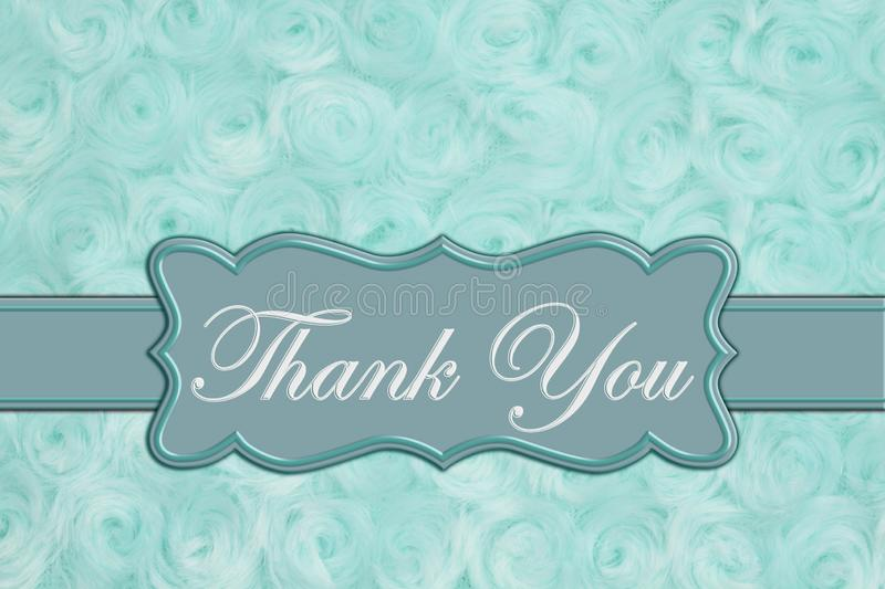 Thank you message on pale teal rose plush fabric royalty free stock image