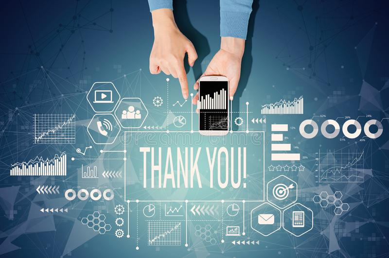 Thank you message with person using a smartphone royalty free stock photos