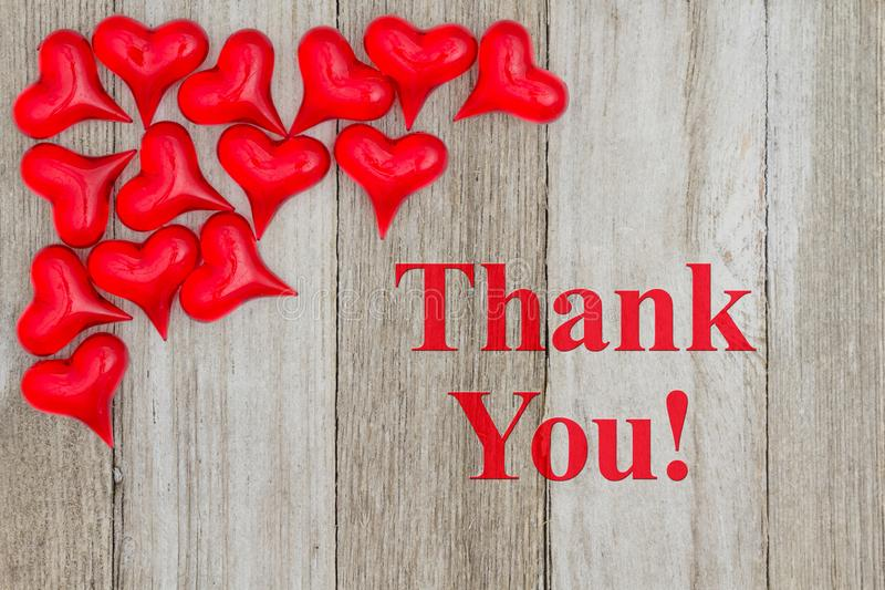 Thank you message with red hearts royalty free stock image