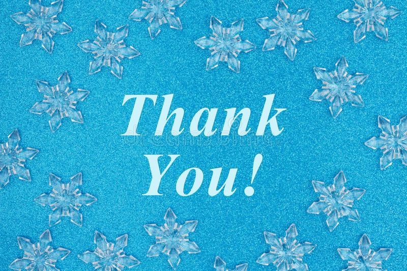Thank you message with snowflakes royalty free stock images