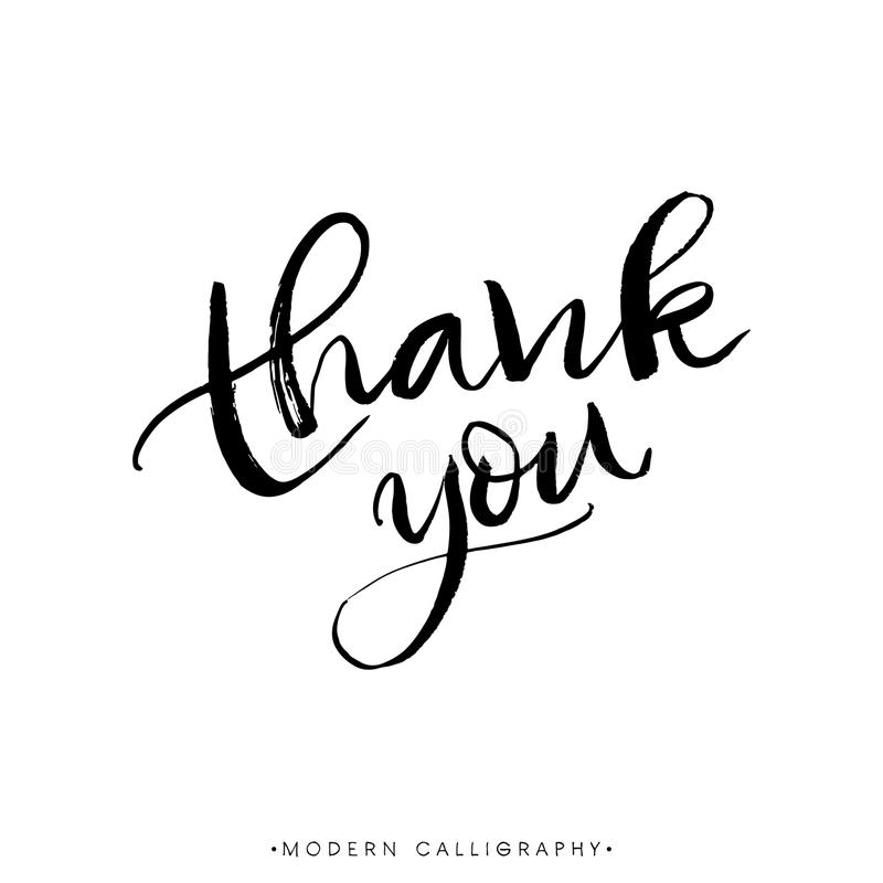 Thank you. Modern brush calligraphy. Handwritten ink lettering. royalty free illustration